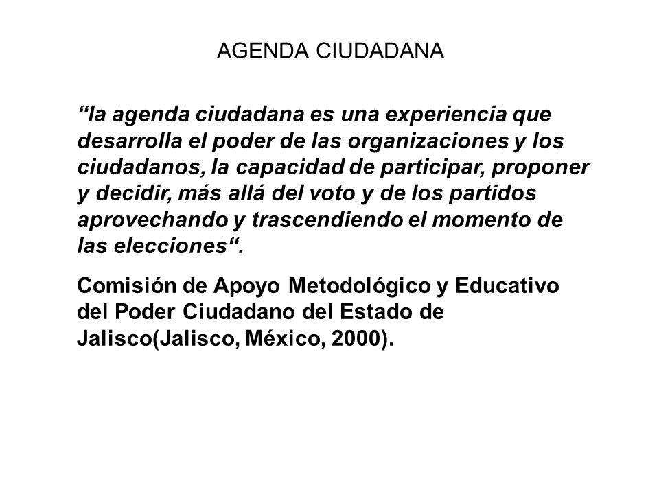 AGENDA CIUDADANA la agenda ciudadana es una experiencia que desarrolla el poder de las organizaciones y los ciudadanos, la capacidad de participar, pr