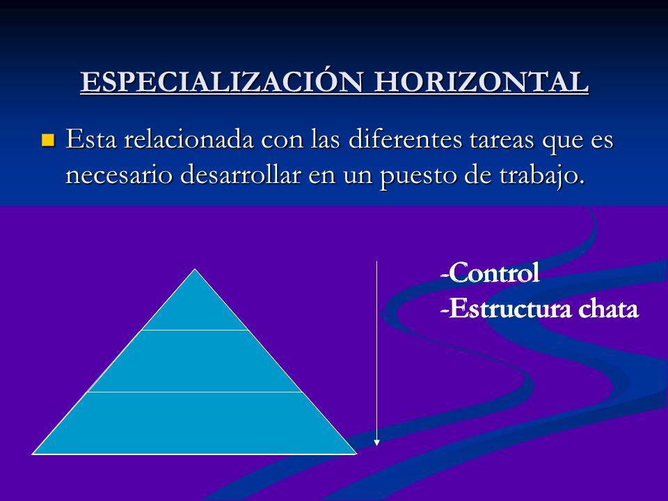 ESPECIALIZACIÓN HORIZONTAL Esta relacionada con las diferentes tareas que es necesario desarrollar en un puesto de trabajo. -Control -Estructura chata