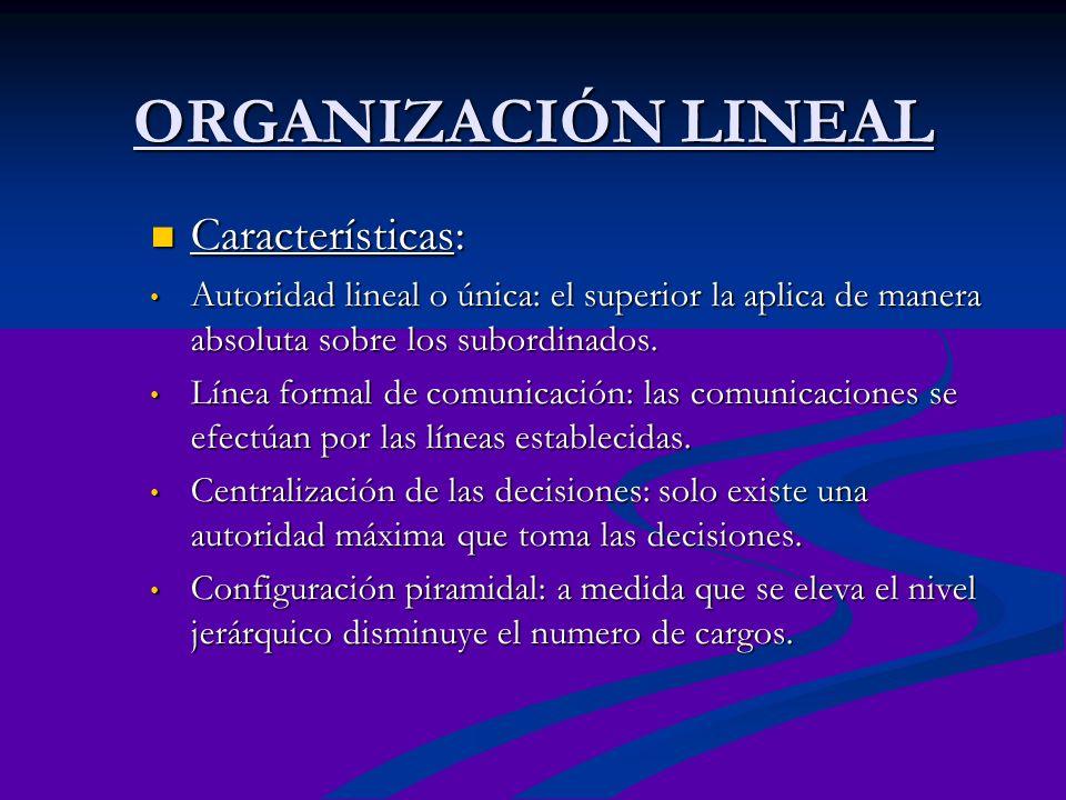 ORGANIZACIÓN LINEAL Características: Características: Autoridad lineal o única: el superior la aplica de manera absoluta sobre los subordinados. Autor
