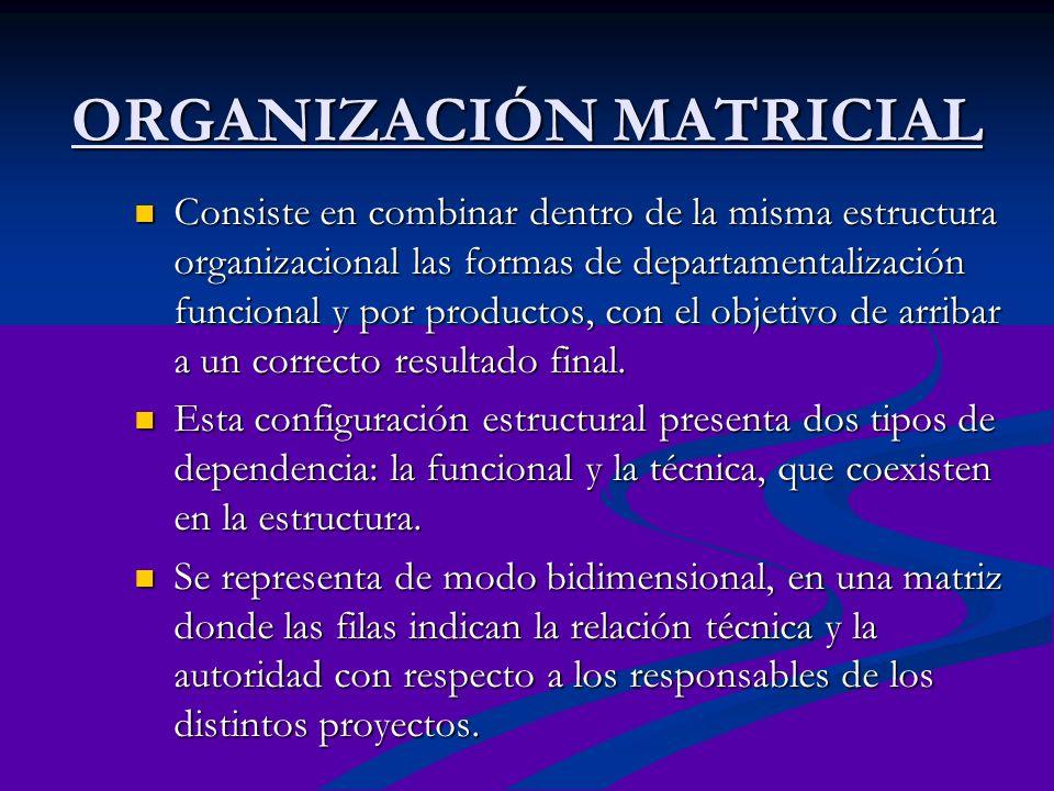 ORGANIZACIÓN MATRICIAL Consiste en combinar dentro de la misma estructura organizacional las formas de departamentalización funcional y por productos,