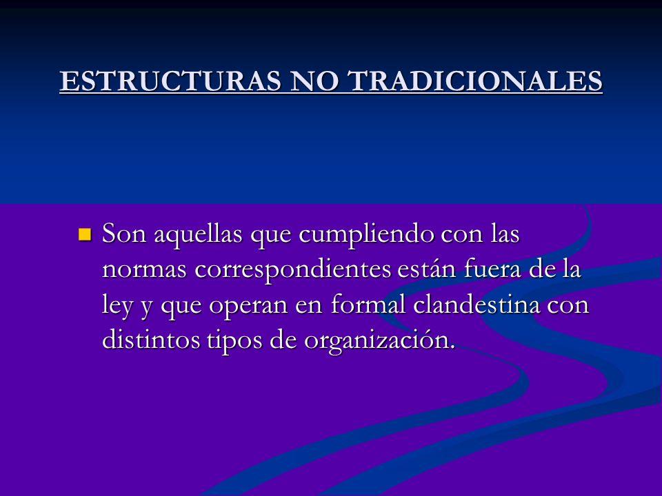 ESTRUCTURAS NO TRADICIONALES Son aquellas que cumpliendo con las normas correspondientes están fuera de la ley y que operan en formal clandestina con