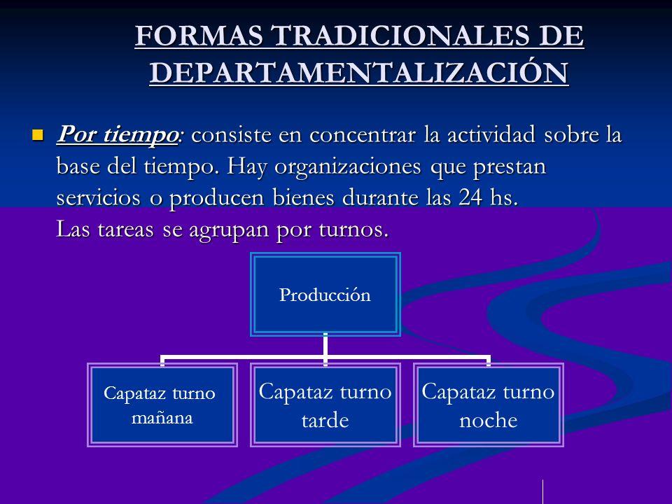 FORMAS TRADICIONALES DE DEPARTAMENTALIZACIÓN Por tiempo: consiste en concentrar la actividad sobre la base del tiempo. Hay organizaciones que prestan