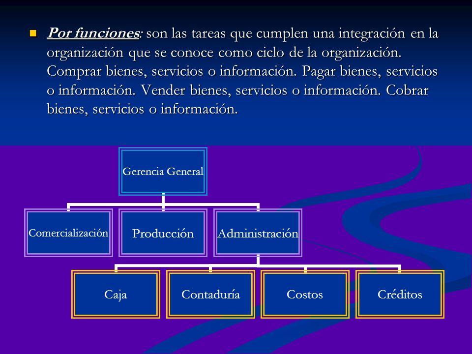 Por funciones: son las tareas que cumplen una integración en la organización que se conoce como ciclo de la organización. Comprar bienes, servicios o