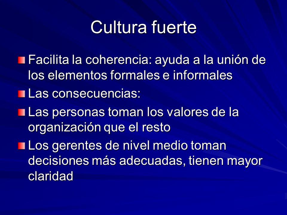 Cultura fuerte Facilita la coherencia: ayuda a la unión de los elementos formales e informales Las consecuencias: Las personas toman los valores de la