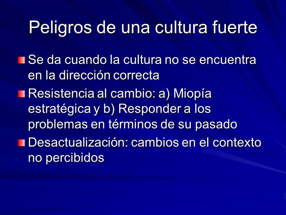 Peligros de una cultura fuerte Se da cuando la cultura no se encuentra en la dirección correcta Resistencia al cambio: a) Miopía estratégica y b) Resp