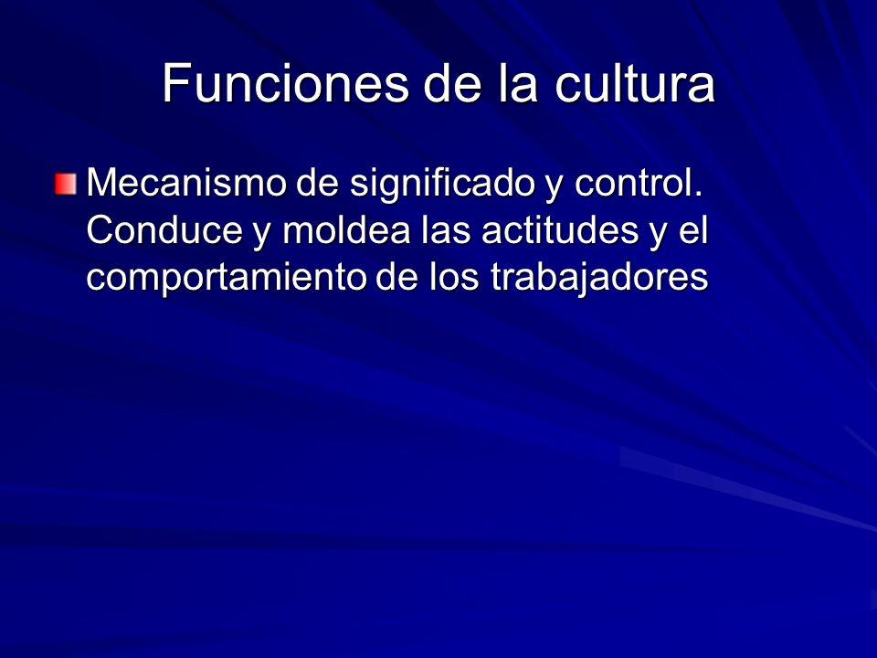 Funciones de la cultura Mecanismo de significado y control. Conduce y moldea las actitudes y el comportamiento de los trabajadores