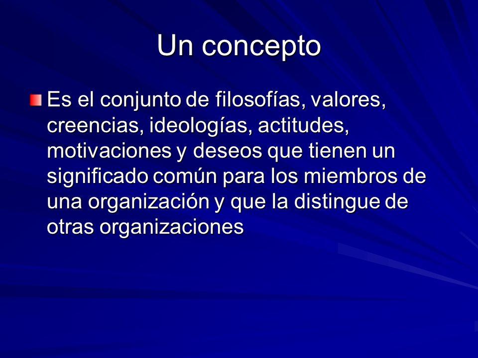 Un concepto Es el conjunto de filosofías, valores, creencias, ideologías, actitudes, motivaciones y deseos que tienen un significado común para los mi