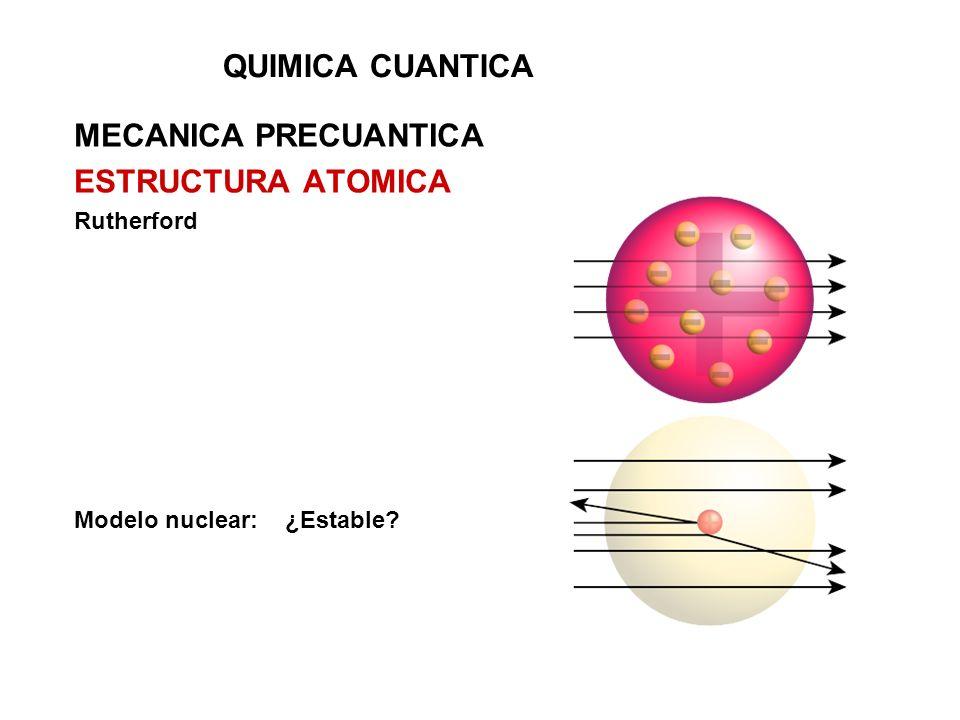 QUIMICA CUANTICA MECANICA PRECUANTICA ESTRUCTURA ATOMICA Rutherford Modelo nuclear: ¿Estable?