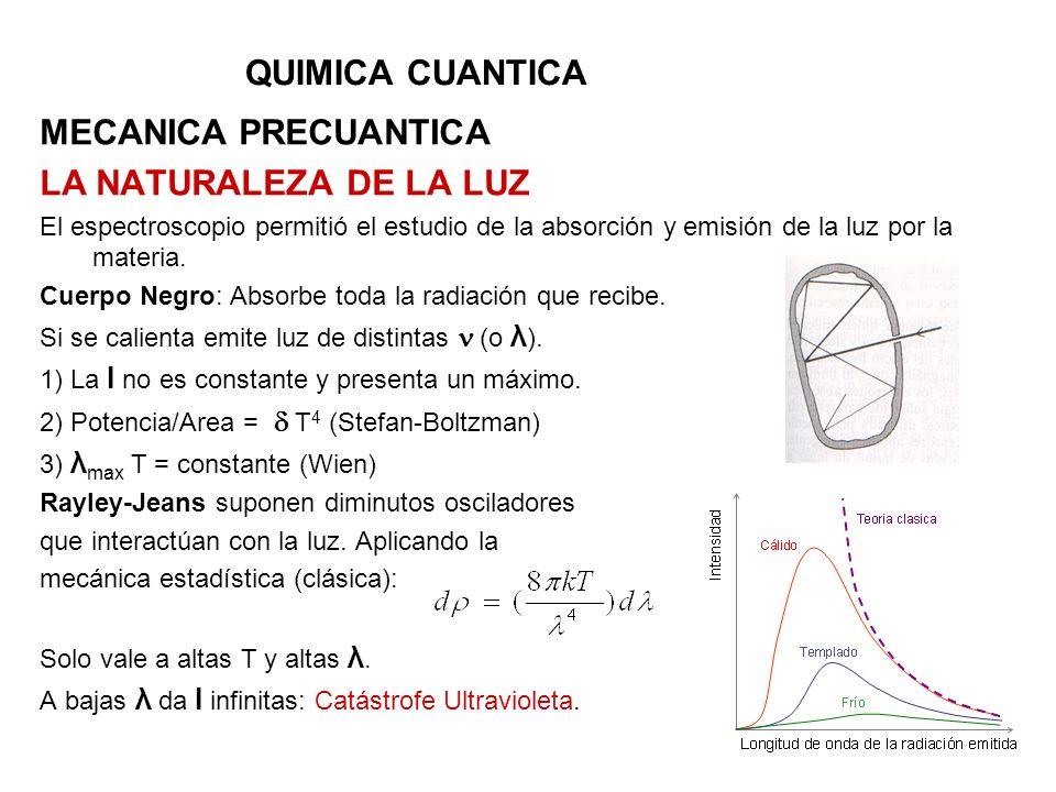 QUIMICA CUANTICA MECANICA PRECUANTICA LA NATURALEZA DE LA LUZ El espectroscopio permitió el estudio de la absorción y emisión de la luz por la materia