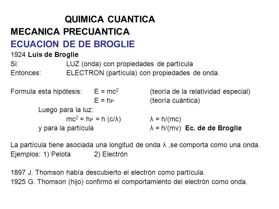 QUIMICA CUANTICA MECANICA PRECUANTICA ECUACION DE DE BROGLIE 1924 Luis de Broglie Si: LUZ (onda) con propiedades de partícula Entonces: ELECTRON (part
