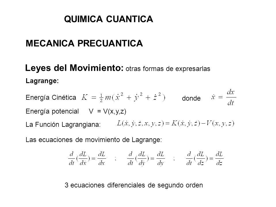 QUIMICA CUANTICA MECANICA PRECUANTICA Hamilton: se basa en las ecuaciones de Lagrange y define 3 coordenadas generalizadas: Se puede demostrar que La Función Hamiltoniana: Las ecuaciones del movimiento de Hamilton: 6 ecuaciones diferenciales de primer orden y 3 momentos conjugados: