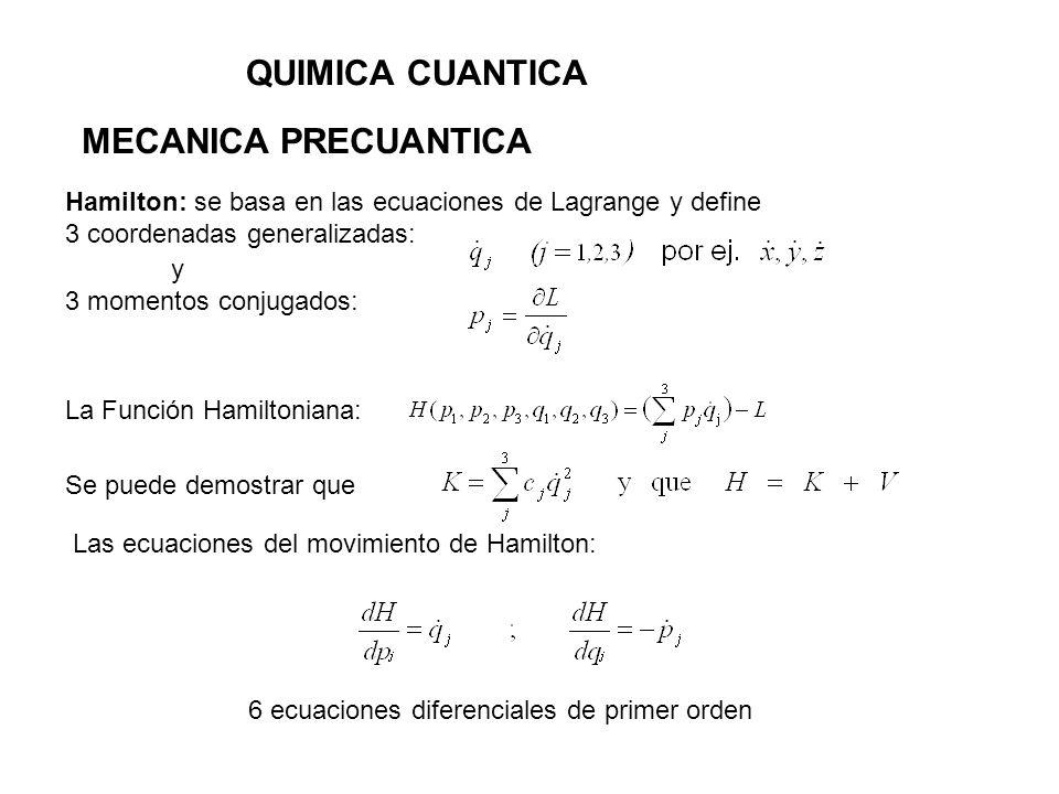QUIMICA CUANTICA MECANICA PRECUANTICA RADIACION DE CUERPO NEGRO Max Plank: Osciladores cuantizados E = h 1900, 19 de Octubre: Propone ante la Sociedad Alemana de Física la siguiente ecuación encontrada empíricamente, que ajustaba los puntos experimentales: 1900, 14 de Diciembre: Osciladores con E = h (cuantizados) Presenta una teoría que fundamenta la ecuación anterior identificando por ajuste las constantes a y b:
