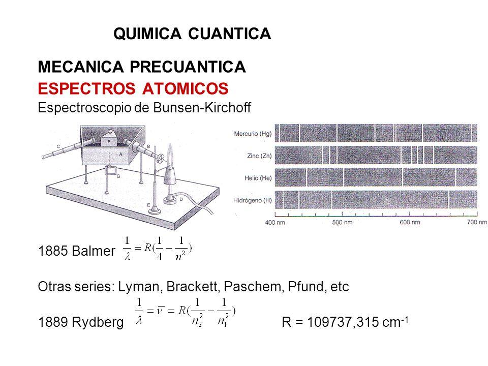 QUIMICA CUANTICA MECANICA PRECUANTICA ESPECTROS ATOMICOS Espectroscopio de Bunsen-Kirchoff 1885 Balmer Otras series: Lyman, Brackett, Paschem, Pfund,