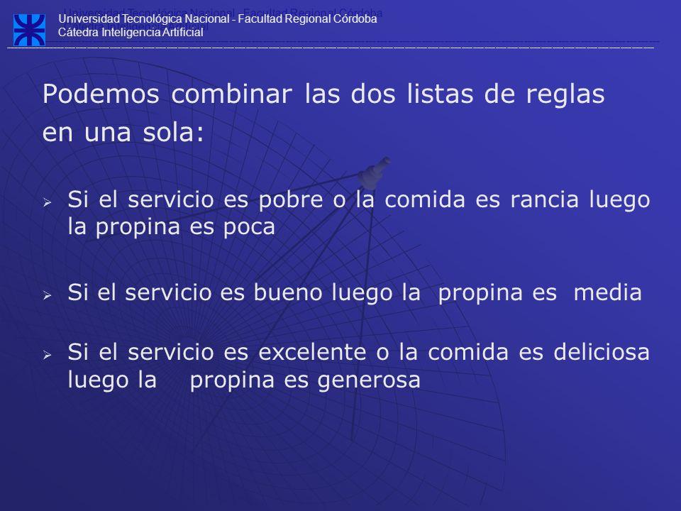 Podemos combinar las dos listas de reglas en una sola: Si el servicio es pobre o la comida es rancia luego la propina es poca Si el servicio es bueno
