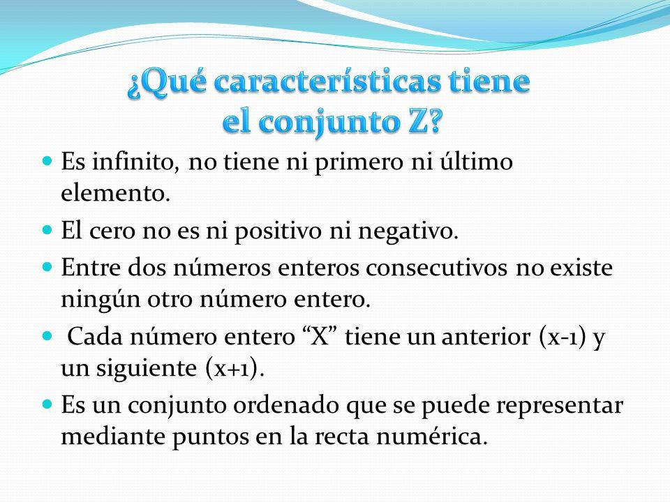 Es infinito, no tiene ni primero ni último elemento. El cero no es ni positivo ni negativo. Entre dos números enteros consecutivos no existe ningún ot