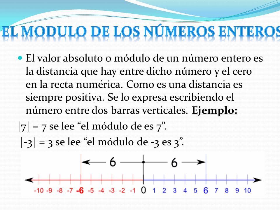 El valor absoluto o módulo de un número entero es la distancia que hay entre dicho número y el cero en la recta numérica. Como es una distancia es sie