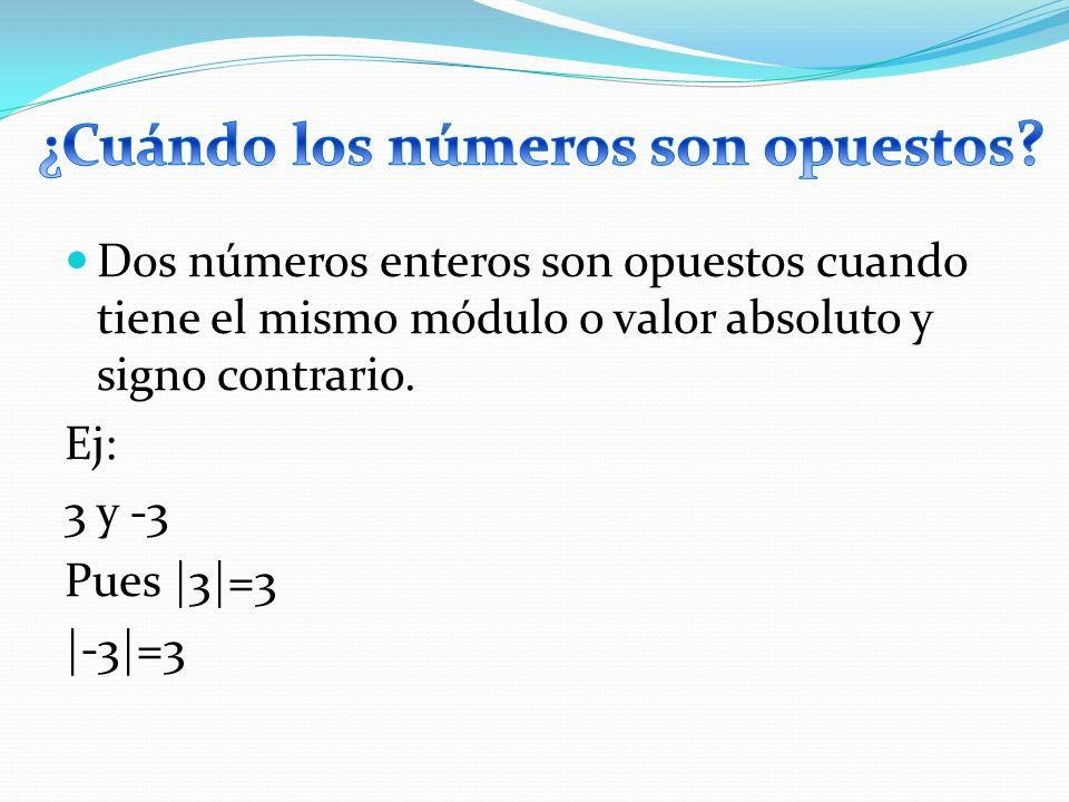 Dos números enteros son opuestos cuando tiene el mismo módulo o valor absoluto y signo contrario. Ej: 3 y -3 Pues |3|=3 |-3|=3