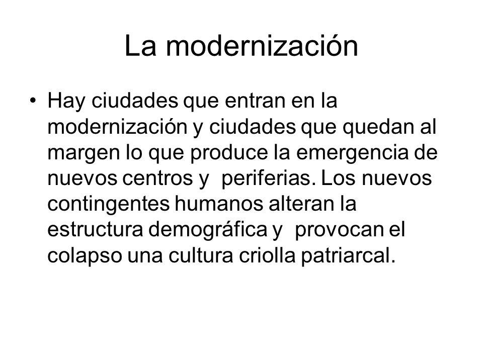 La modernización Hay ciudades que entran en la modernización y ciudades que quedan al margen lo que produce la emergencia de nuevos centros y periferi