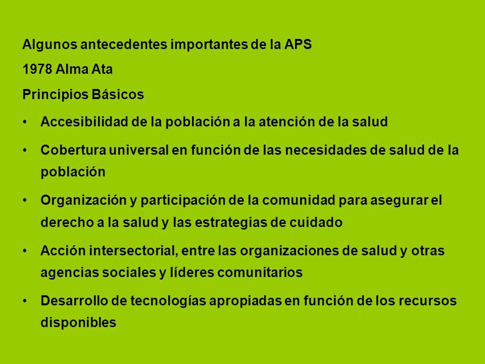 Algunos antecedentes importantes de la APS 1978 Alma Ata Principios Básicos Accesibilidad de la población a la atención de la salud Cobertura universa