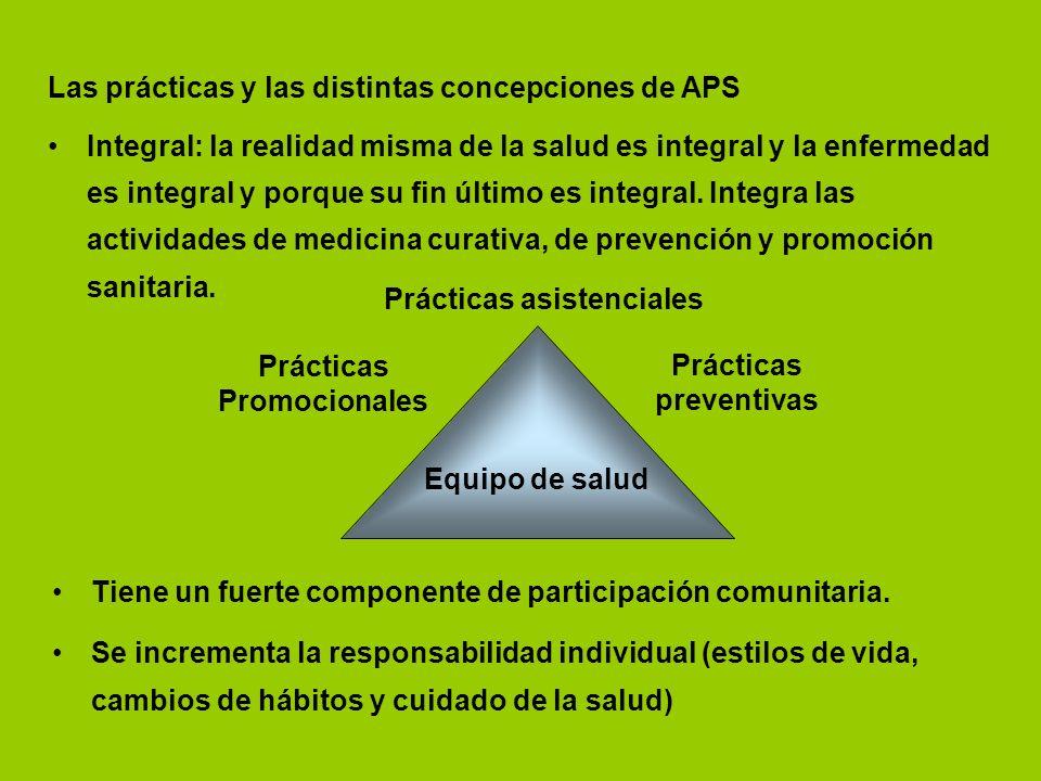 Las prácticas y las distintas concepciones de APS Integral: la realidad misma de la salud es integral y la enfermedad es integral y porque su fin últi
