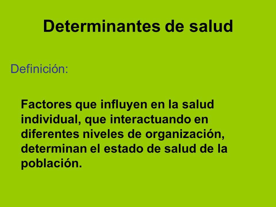 Determinantes de salud Definición: Factores que influyen en la salud individual, que interactuando en diferentes niveles de organización, determinan e