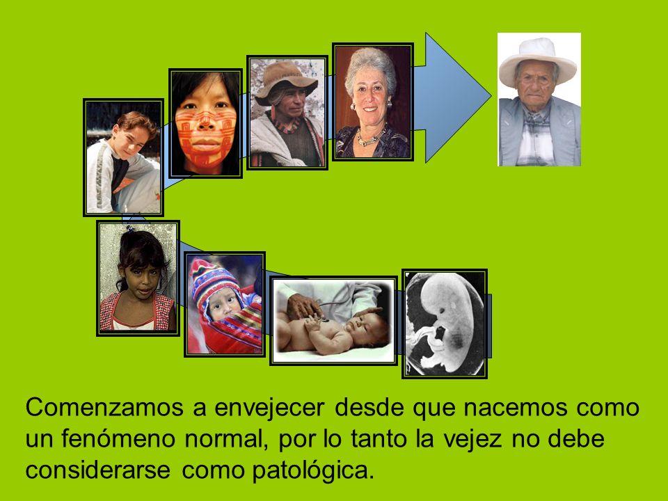 2004 Comenzamos a envejecer desde que nacemos como un fenómeno normal, por lo tanto la vejez no debe considerarse como patológica.