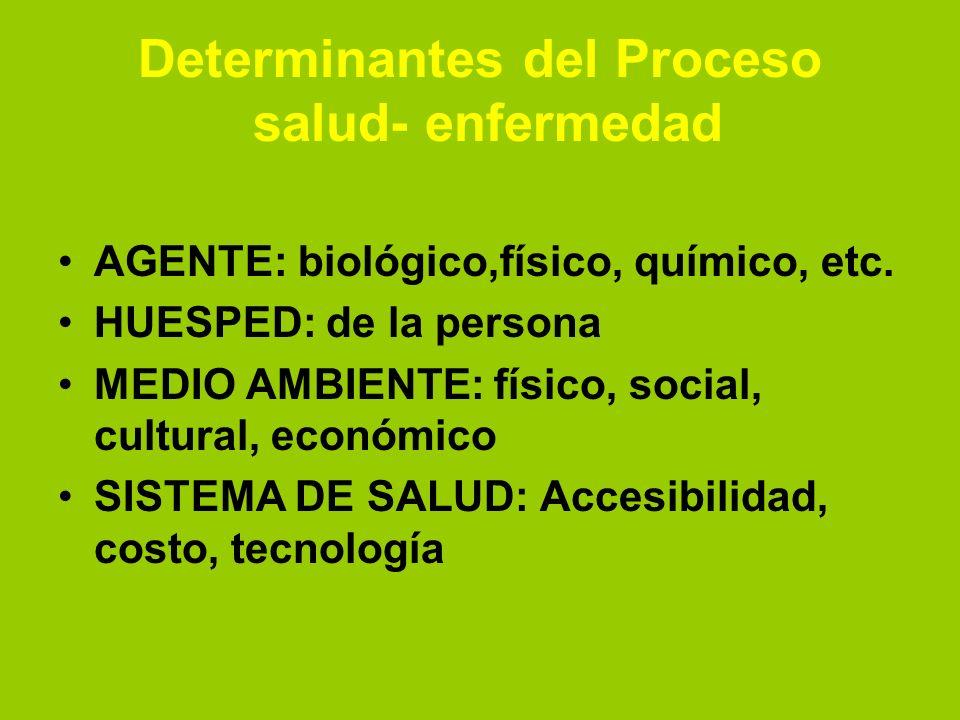 Determinantes del Proceso salud- enfermedad AGENTE: biológico,físico, químico, etc. HUESPED: de la persona MEDIO AMBIENTE: físico, social, cultural, e