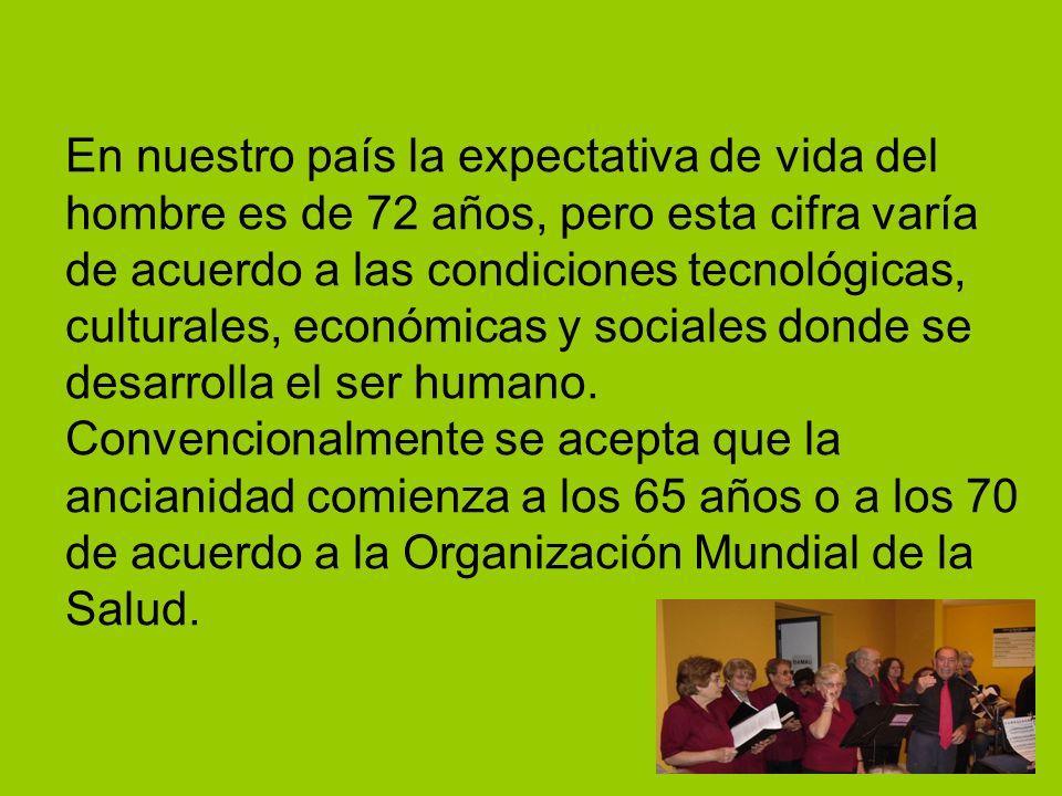 En nuestro país la expectativa de vida del hombre es de 72 años, pero esta cifra varía de acuerdo a las condiciones tecnológicas, culturales, económic