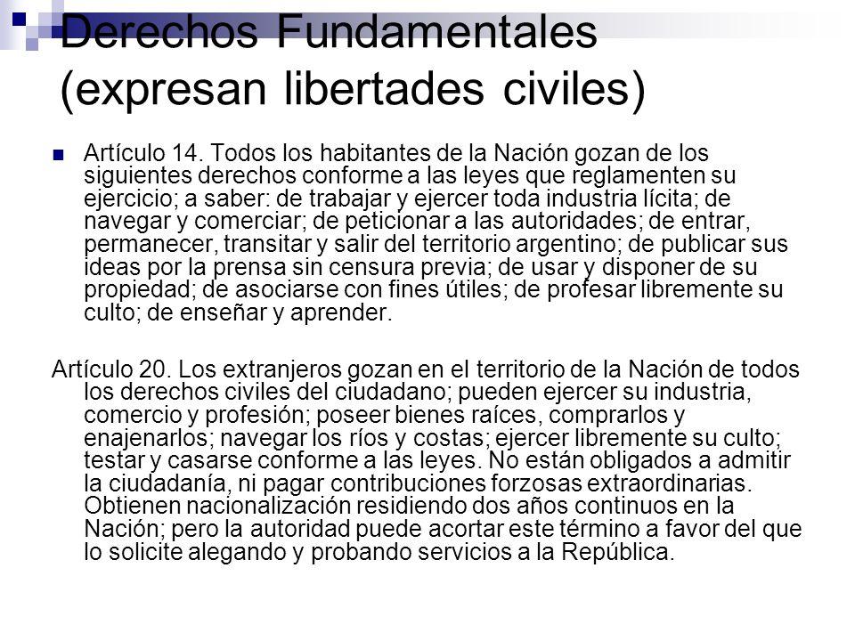 Derechos Fundamentales (expresan libertades civiles) Artículo 14. Todos los habitantes de la Nación gozan de los siguientes derechos conforme a las le