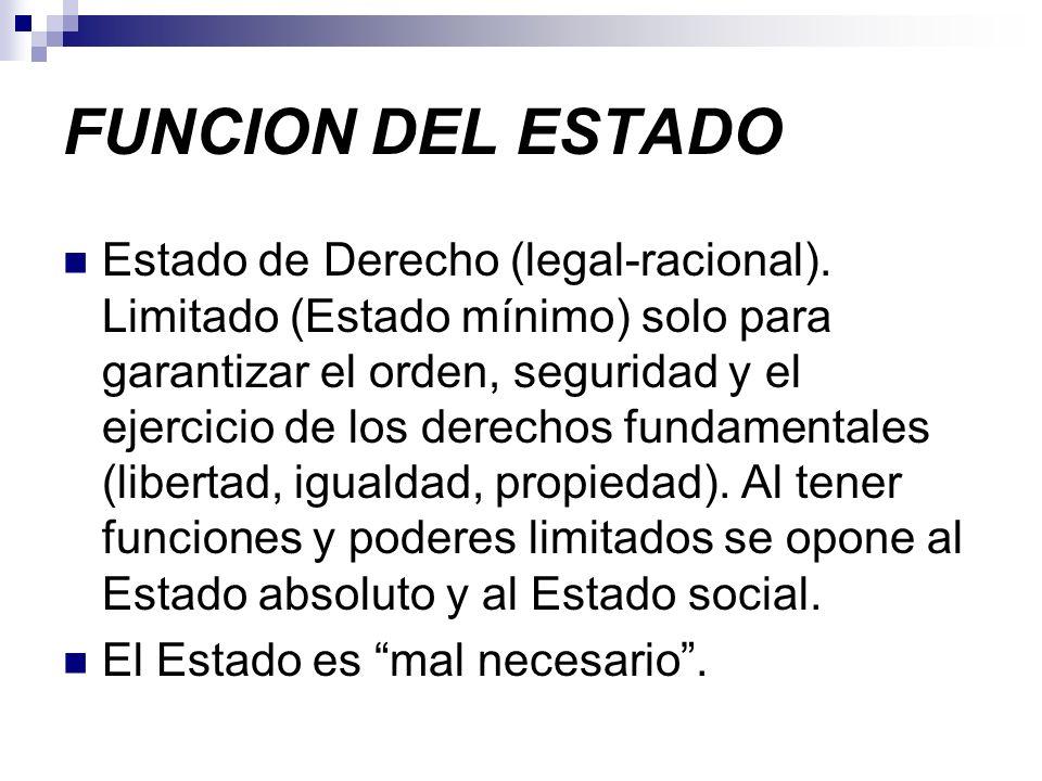 FUNCION DEL ESTADO Estado de Derecho (legal-racional). Limitado (Estado mínimo) solo para garantizar el orden, seguridad y el ejercicio de los derecho