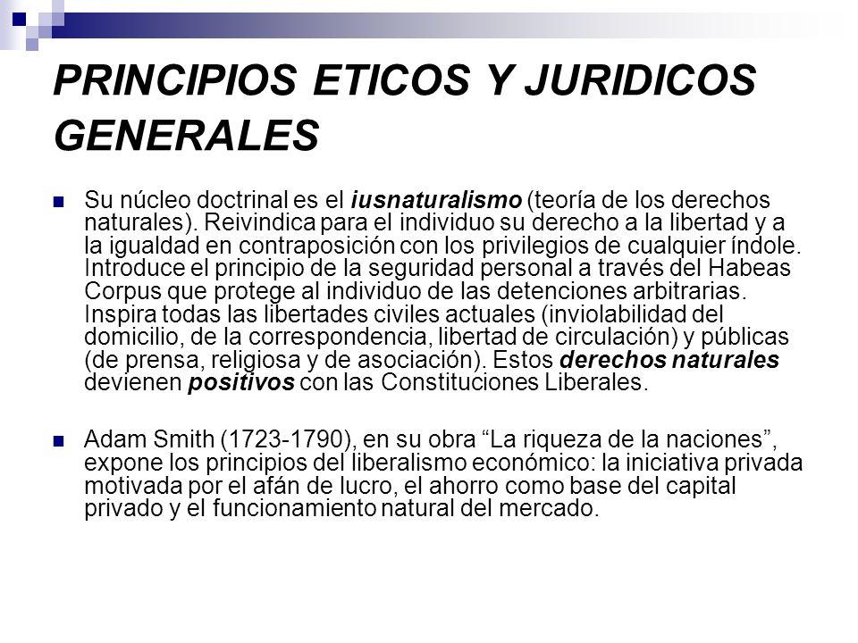 PRINCIPIOS ETICOS Y JURIDICOS GENERALES Su núcleo doctrinal es el iusnaturalismo (teoría de los derechos naturales). Reivindica para el individuo su d