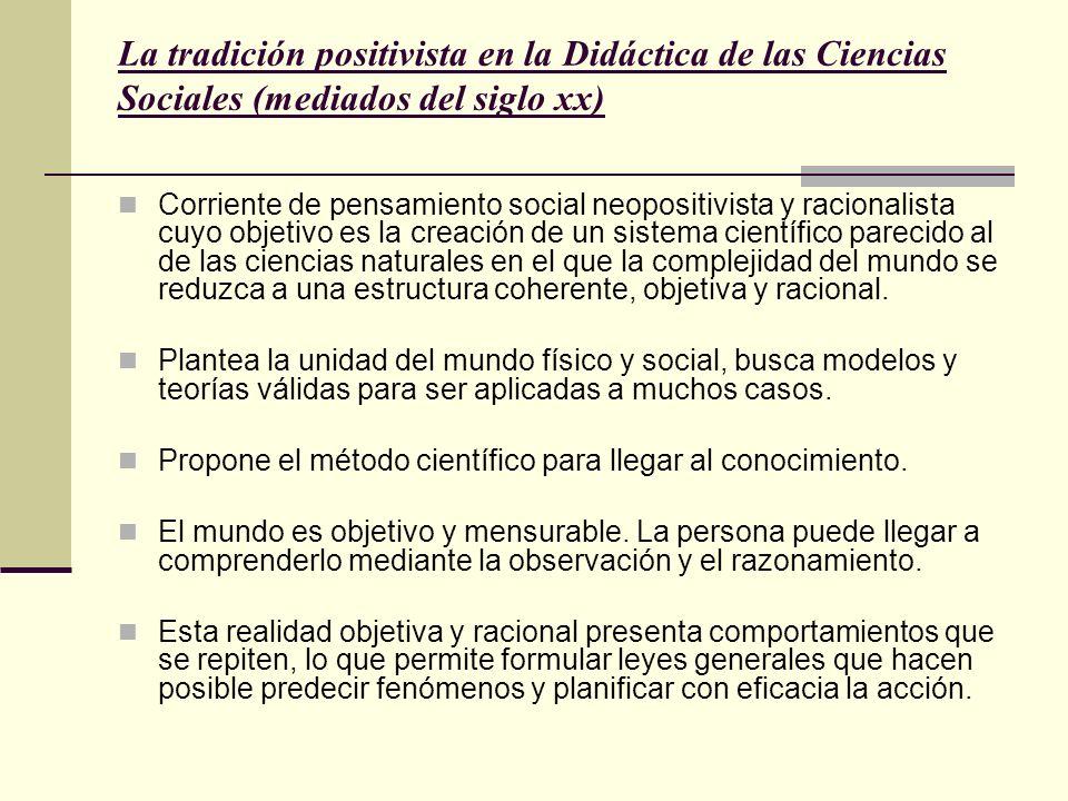 La tradición positivista en la Didáctica de las Ciencias Sociales (mediados del siglo xx) Corriente de pensamiento social neopositivista y racionalist