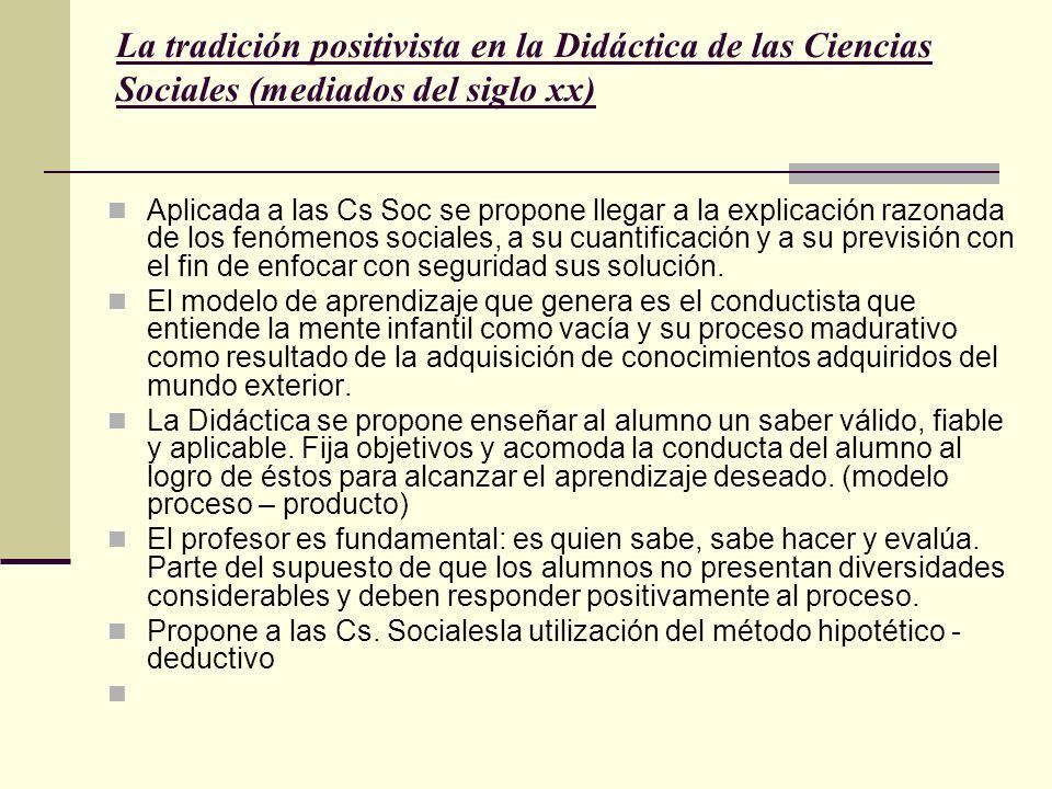 La tradición positivista en la Didáctica de las Ciencias Sociales (mediados del siglo xx) Aplicada a las Cs Soc se propone llegar a la explicación raz