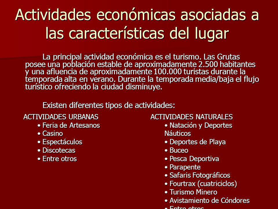 Actividades económicas asociadas a las características del lugar La principal actividad económica es el turismo.