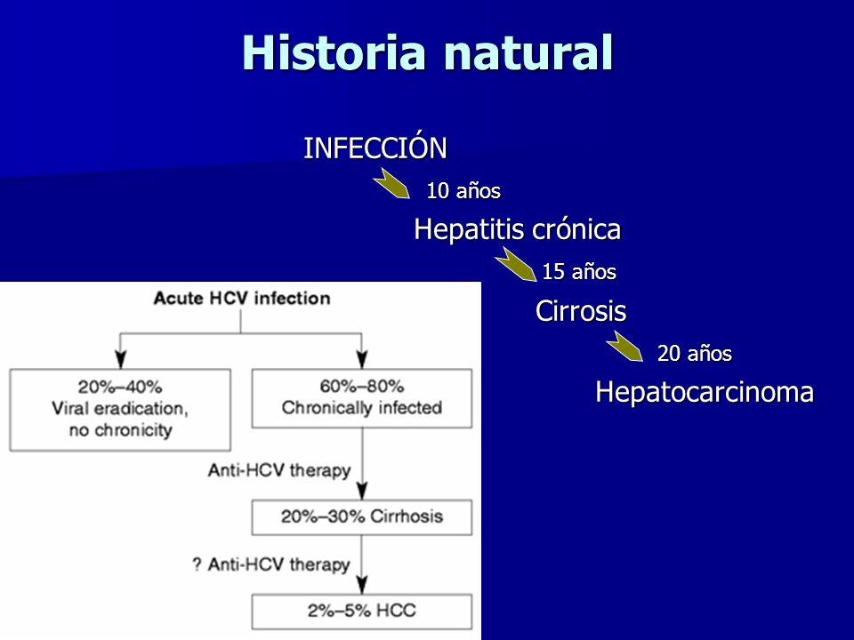 Historia natural INFECCIÓN 10 años 10 años Hepatitis crónica Hepatitis crónica 15 años 15 años Cirrosis Cirrosis 20 años 20 años Hepatocarcinoma Hepat