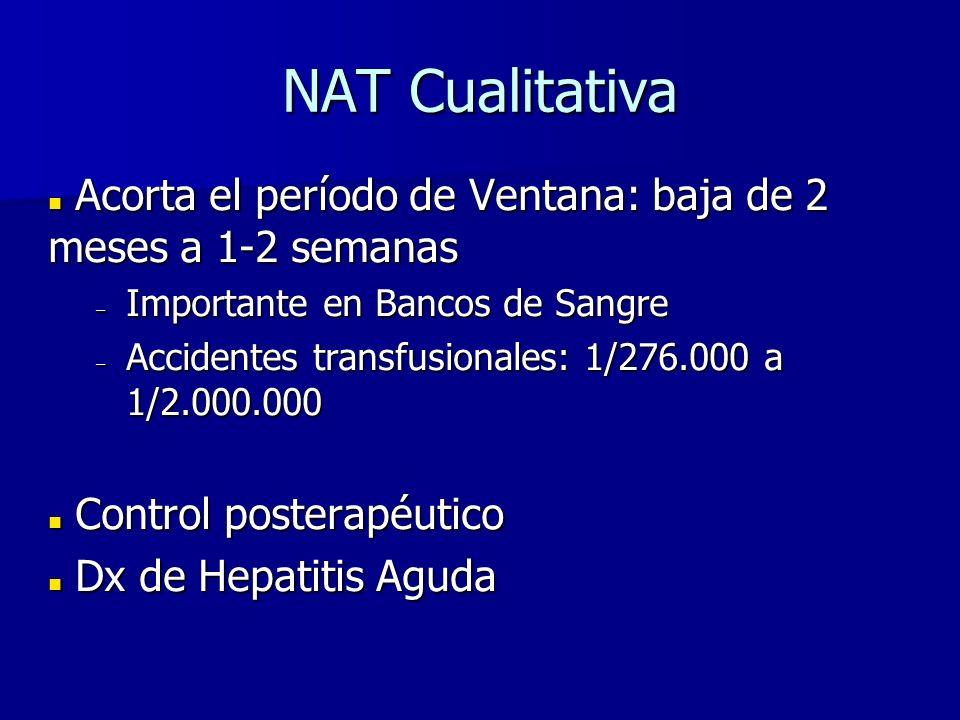 NAT Cualitativa Acorta el período de Ventana: baja de 2 meses a 1-2 semanas Acorta el período de Ventana: baja de 2 meses a 1-2 semanas – Importante e