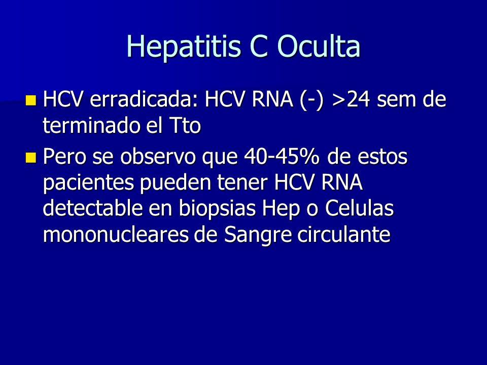 Hepatitis C Oculta HCV erradicada: HCV RNA (-) >24 sem de terminado el Tto HCV erradicada: HCV RNA (-) >24 sem de terminado el Tto Pero se observo que