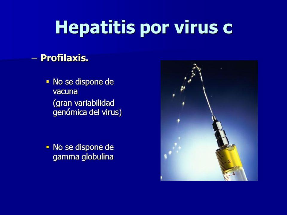 Hepatitis por virus c –Profilaxis. No se dispone de vacuna No se dispone de vacuna (gran variabilidad genómica del virus) No se dispone de gamma globu