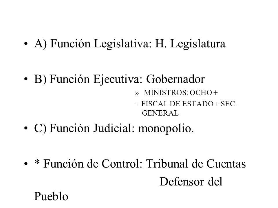 A) Función Legislativa: H. Legislatura B) Función Ejecutiva: Gobernador » MINISTROS: OCHO + + FISCAL DE ESTADO + SEC. GENERAL C) Función Judicial: mon