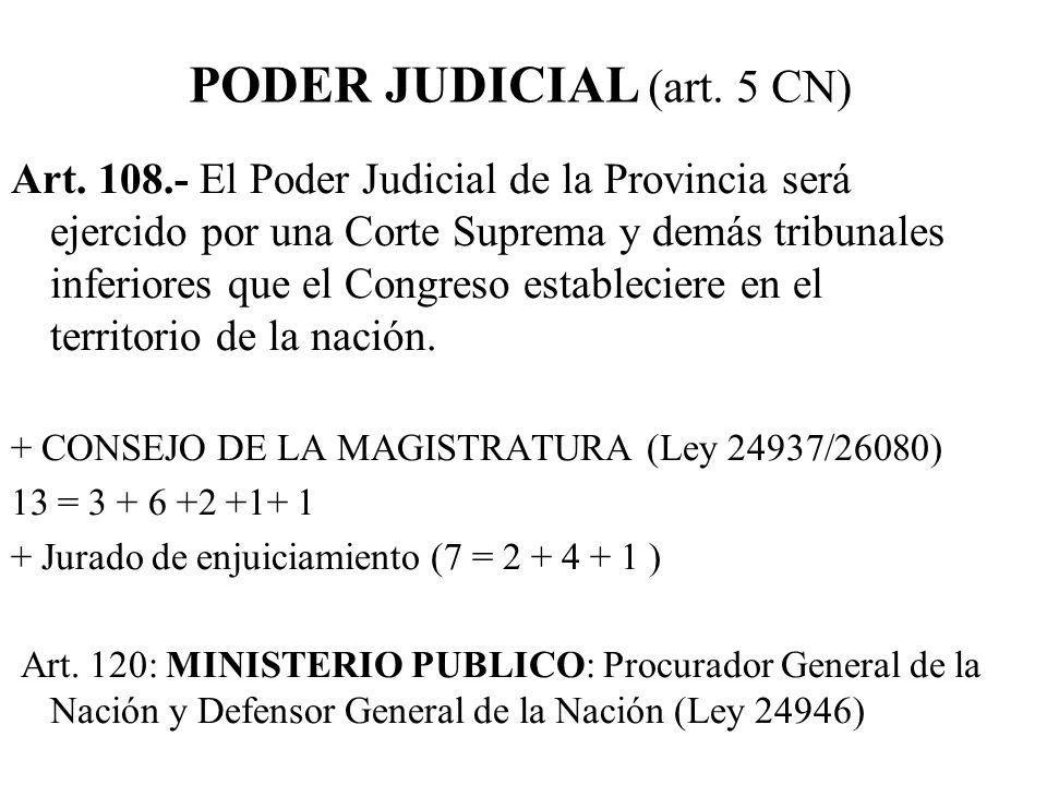 Art. 108.- El Poder Judicial de la Provincia será ejercido por una Corte Suprema y demás tribunales inferiores que el Congreso estableciere en el terr