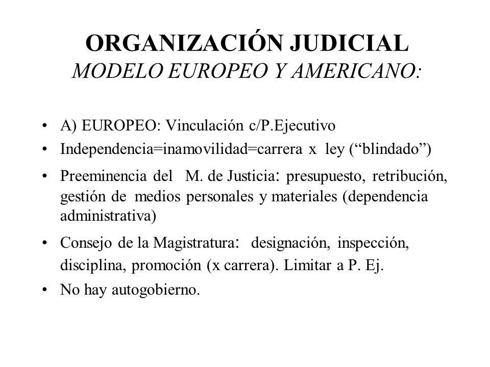 ORGANIZACIÓN JUDICIAL MODELO EUROPEO Y AMERICANO: A) EUROPEO: Vinculación c/P.Ejecutivo Independencia=inamovilidad=carrera x ley (blindado) Preeminenc