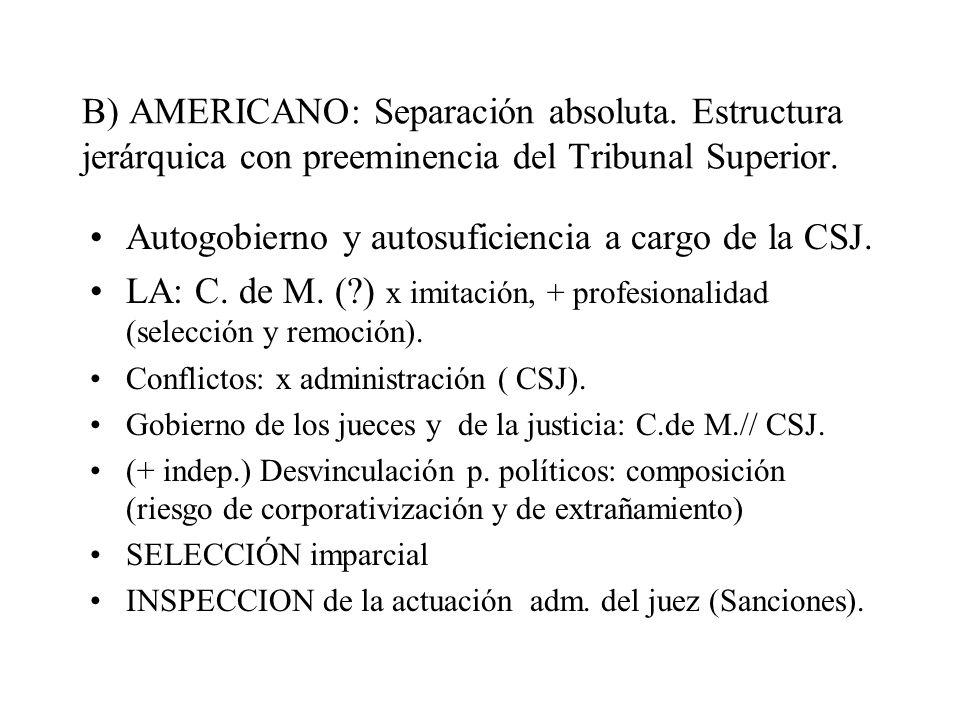 B) AMERICANO: Separación absoluta. Estructura jerárquica con preeminencia del Tribunal Superior. Autogobierno y autosuficiencia a cargo de la CSJ. LA: