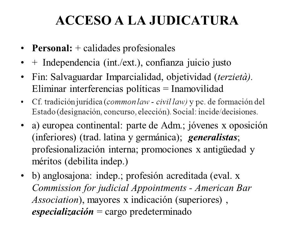 Personal: + calidades profesionales + Independencia (int./ext.), confianza juicio justo Fin: Salvaguardar Imparcialidad, objetividad (terzietà). Elimi