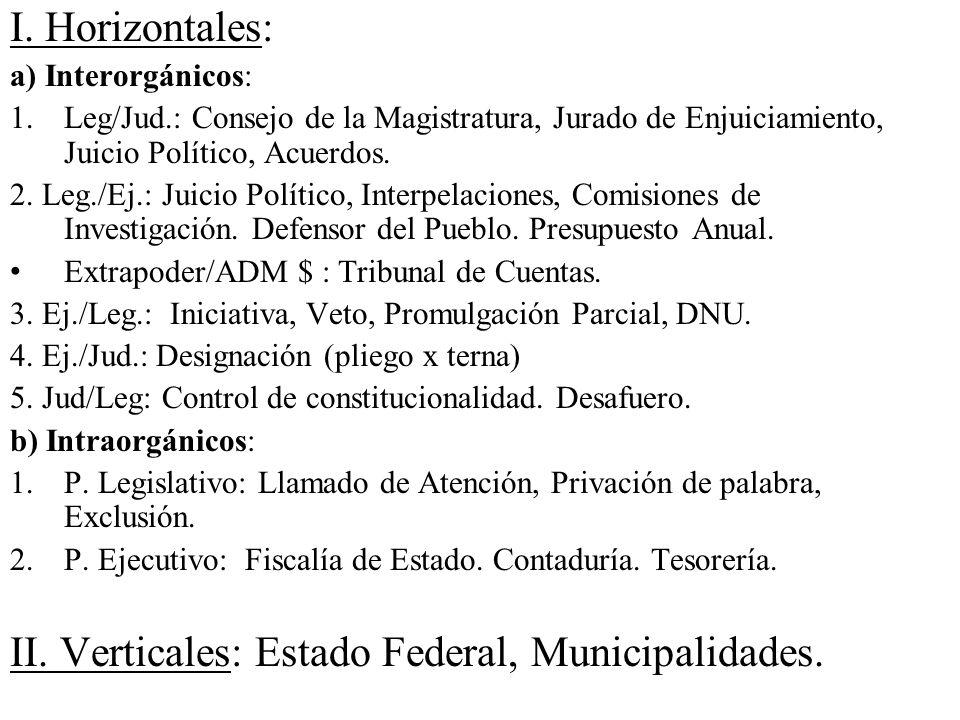 I. Horizontales: a) Interorgánicos: 1.Leg/Jud.: Consejo de la Magistratura, Jurado de Enjuiciamiento, Juicio Político, Acuerdos. 2. Leg./Ej.: Juicio P