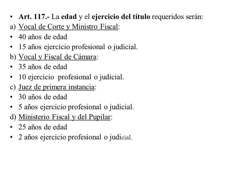 Art. 117.- La edad y el ejercicio del título requeridos serán: a)Vocal de Corte y Ministro Fiscal: 40 años de edad 15 años ejercicio profesional o jud
