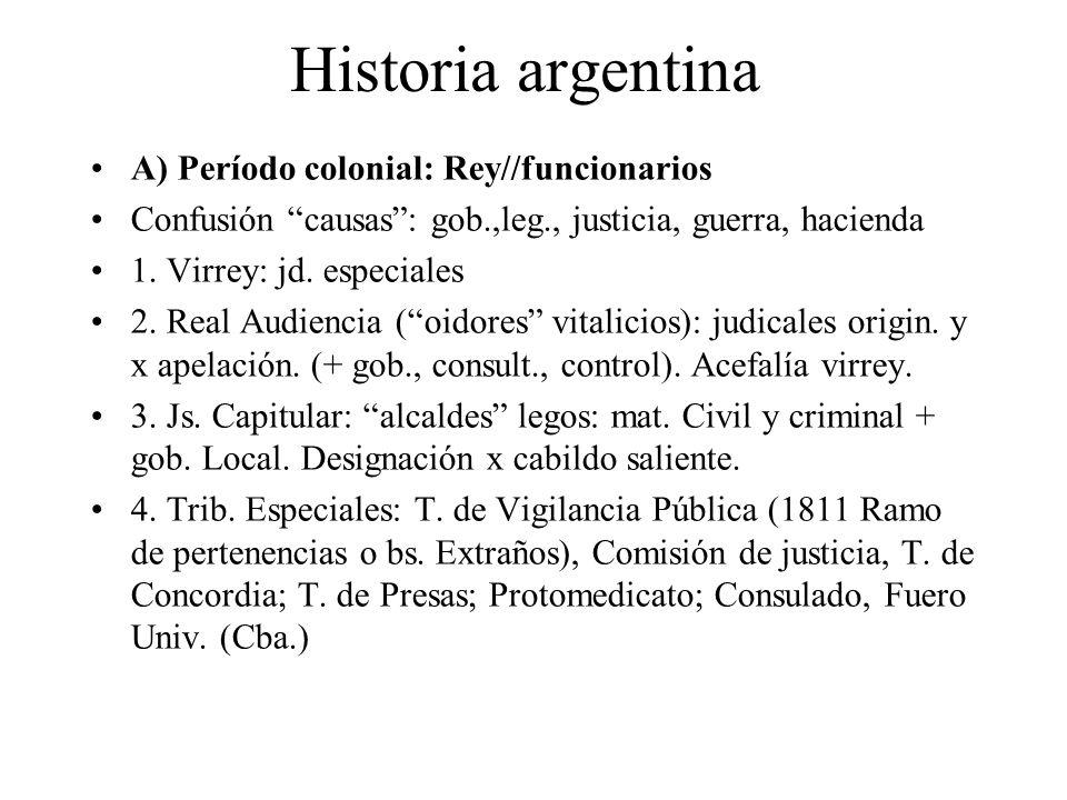 Historia argentina A) Período colonial: Rey//funcionarios Confusión causas: gob.,leg., justicia, guerra, hacienda 1. Virrey: jd. especiales 2. Real Au
