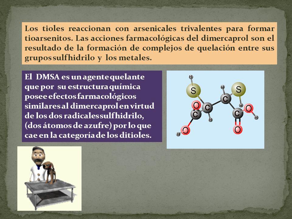 Los tioles reaccionan con arsenicales trivalentes para formar tioarsenitos. Las acciones farmacológicas del dimercaprol son el resultado de la formaci