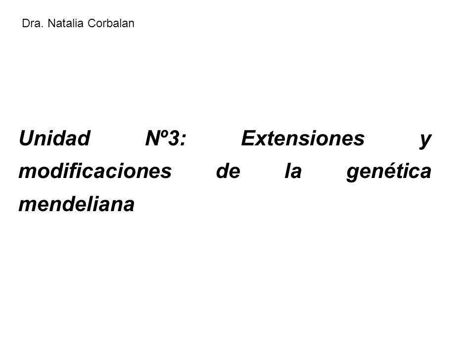 Unidad Nº3: Extensiones y modificaciones de la genética mendeliana Dra. Natalia Corbalan