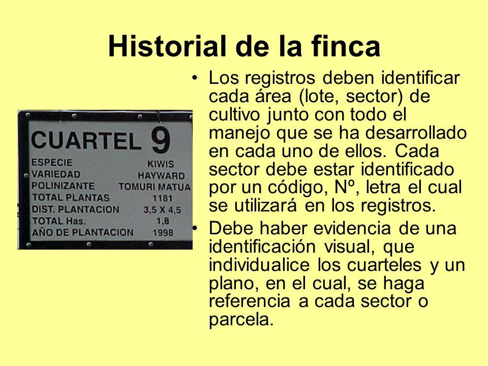 Historial de la finca Los registros deben identificar cada área (lote, sector) de cultivo junto con todo el manejo que se ha desarrollado en cada uno de ellos.