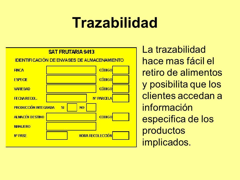 Trazabilidad La trazabilidad hace mas fácil el retiro de alimentos y posibilita que los clientes accedan a información especifica de los productos implicados.